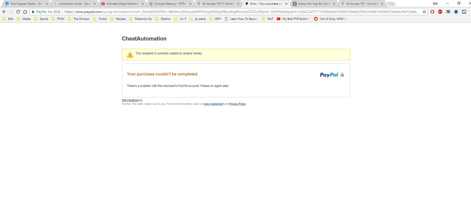 CheatAutomation Paypal problem - Presales Questions - CheatAutomation